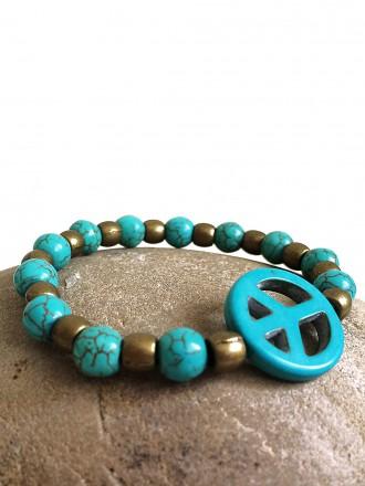 Oh! Este Handmade Accesories Pulsera de Turquesas y bolas bronce Peace Turquoise