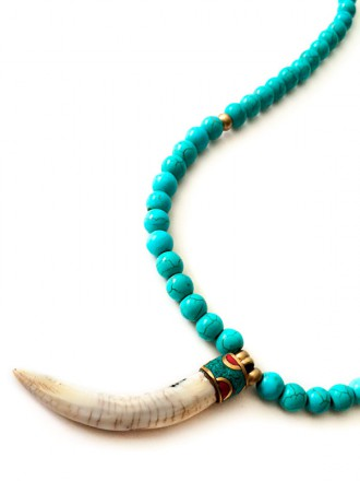 Oh!Este. Collar de cuerno tibetano y turquesas IBIZA